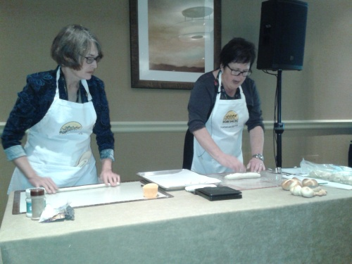 Connie and Sharon from the Home Baking Association shaping Kaisers, Knots and Pretzels